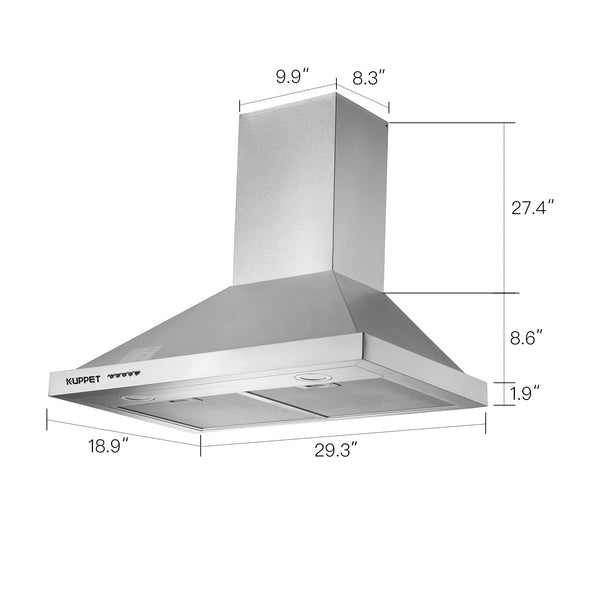 "NY-750Q55 Kitchen Collection 30"" Wall Mount Range Hood, Tempered Glass with High-End LED Lights, Aluminum Mesh Filter, Push Button 3 Speed Controls"