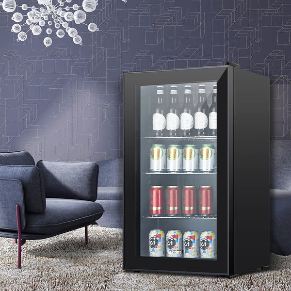 KUPPET 120-Can Beverage Cooler and Refrigerator, with Glass Door and Adjustable Removable Shelves, Perfect for Soda Beer or Wine, Black, 3.1 Cu.Ft