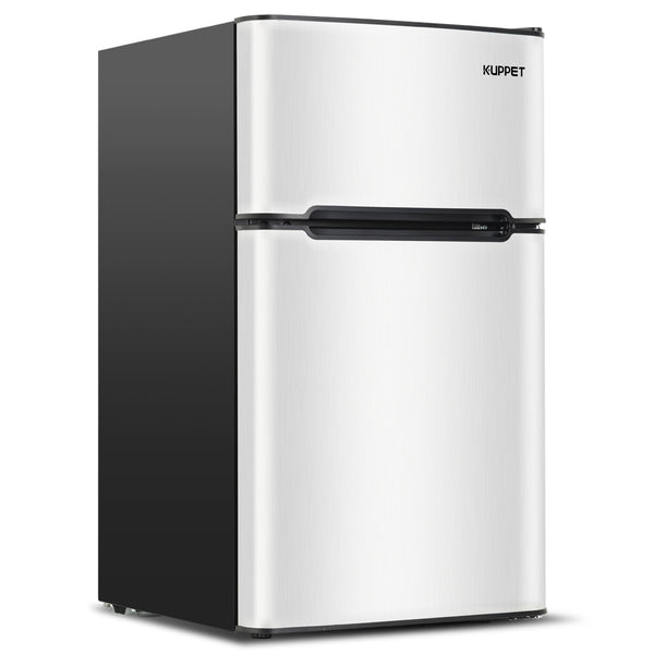 Kuppet Compact Refrigerator Mini Refrigerator for Dorm,Garage, Camper, Basement or Office, Double Door Refrigerator and Freezer, 3.2 Cu.Ft