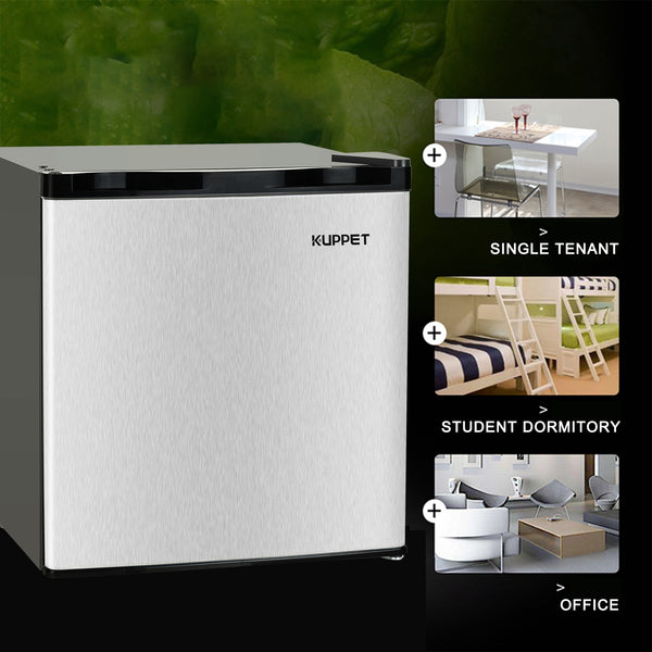 KUPPET Compact Upright Freezer, Single Door, Reversible Stainless Steel Door, Adjustable Removable (Silver, 1.1 cu. ft.)