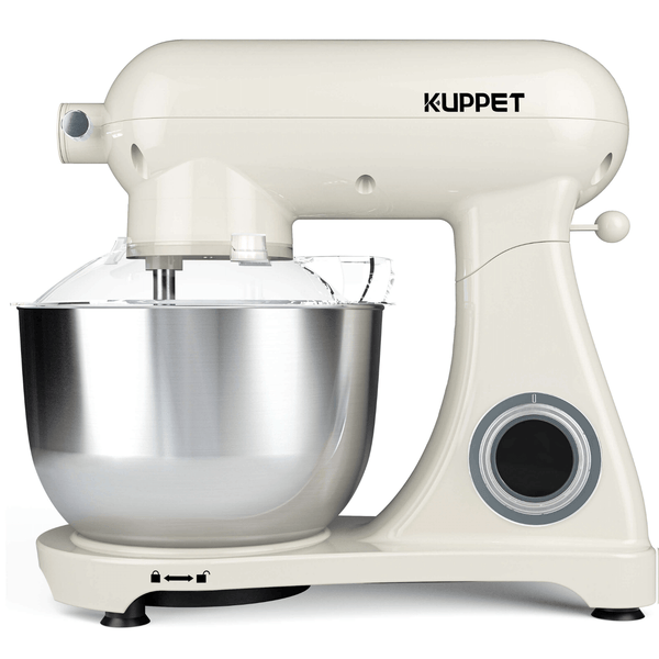 KUPPET Stand Mixer Pro, All Metal Body Mixer, Tilt-Head Electric Food Mixer with Dough Hook, Wire Whip & Beater, 5.5QT Stainless Steel Bowl - Cream