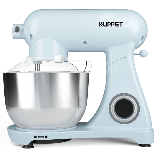 KUPPET Stand Mixer Pro, All Metal Body Mixer, Tilt-Head Electric Food Mixer with Dough Hook, Wire Whip & Beater, 5.5QT Stainless Steel Bowl - Azure Blue