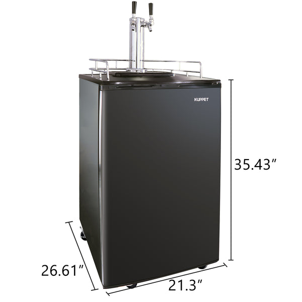 KUPPET Beer Kegerator - Full Size Stainless Steel Kegerator, Draft Beer Dispenser - Keg Beer Cooler, Compressor Cooling CO2 Regulator Casters, Dual Tap, 6.0 Cu.ft. (Black)