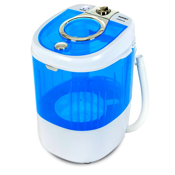 Mini Portable Washing Machine for Compact Laundry, 7.7lbs Capacity, Small Semi-Automatic Compact Washer with Timer Control Single Translucent Tub
