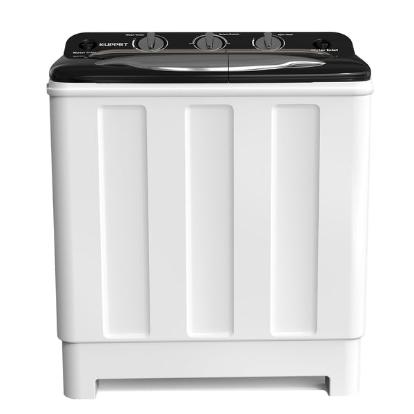 KUPPET Compact Twin Tub Portable Mini Washing Machine 24lbs Capacity, Washer & Laundry (16.5lbs)&Spiner(7.5lbs)/Built-in Drain Pump/Semi-Automatic (White&Black)