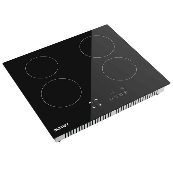 24 Inch Electric Cooktop, Kuppet Built In Induction Cooktop Vertical with 4 Burners(1200/2000W) Vitro Ceramic Smooth Surface Glass