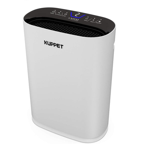 KUPPET Air Purifiers for Home - 3 Stages,Negative Anion, White Air Cleaner with Air Quality Sensor for Allergies and Pets Hair, Smokers