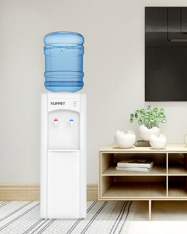 KUPPET Top Loading Water Cooler Dispenser, 3 or 5 Gallon Bottle, PP Material Electrical Cooling HOT and COLD Anti-Scalding Design And Storage Cabinet With Child Safety Lock For Home Use, White
