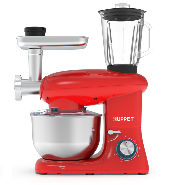 KUPPET 3 in 1 Stand Mixer, 6 Speed Electric Mixer, Tilt Head Kitchen Mixer with Meat Grinder and Juice Blender, 6 Quarts 850W Food Mixer - Red