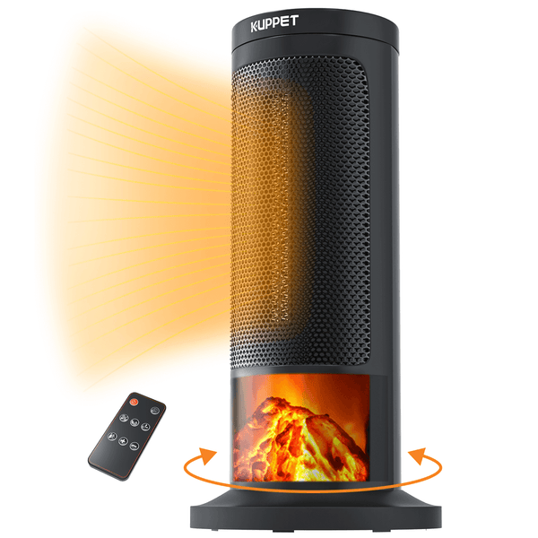 Space Heater KUPPET Digital Ceramic Tower Heater with Remote Control - Oscillating - 3D Realistic Flame Effect for Indoor Use - FAN/LOW/HIGH 3 mode - 12H Timer - Overheating Safety Protection