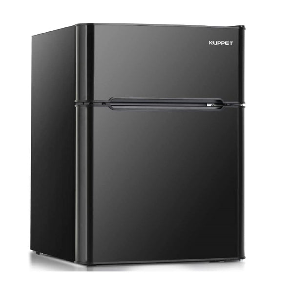 Kuppet Compact Refrigerator Mini Refrigerator for Dorm,Garage, Camper, Basement or Office, Double Door Refrigerator and Freezer, 3.2 Cu.Ft, Black