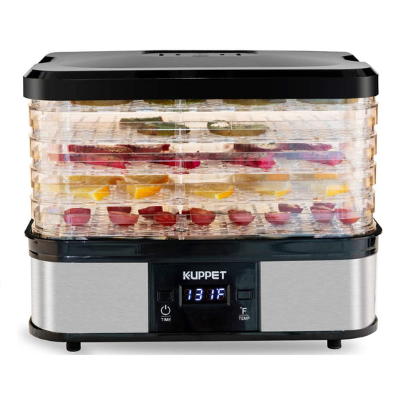 KUPPET Food Dehydrator Machine, Electric Food Drying Machine with Adjustable Thermostat,Digital Temperature & LCD Display