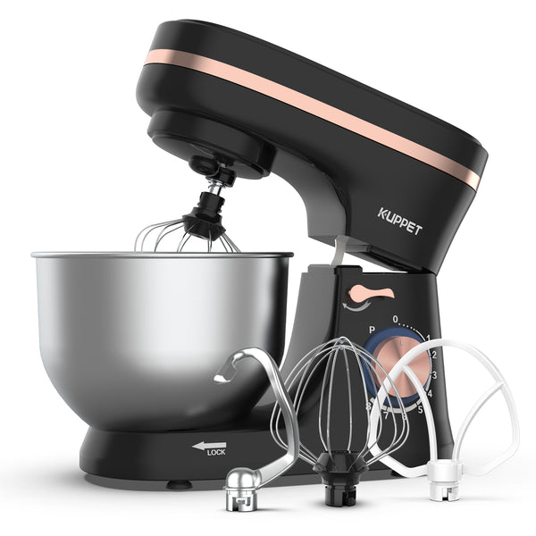 KUPPET Stand Mixer, 8-Speed Tilt-Head Electric Food Stand Mixer with Dough Hook, Wire Whip & Beater, Pouring Shield, 4.7QT Stainless Steel Bowl - Black with Rose Gold Strip