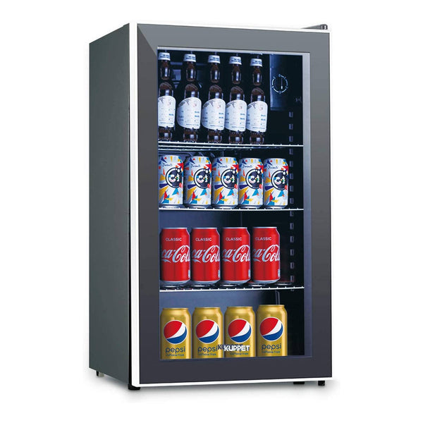 120-Can Beverage Cooler and Refrigerator, Small Mini Fridge for Home, Office or Bar with Glass Door and Adjustable Removable Shelves,Black, 3.1 Cu.Ft