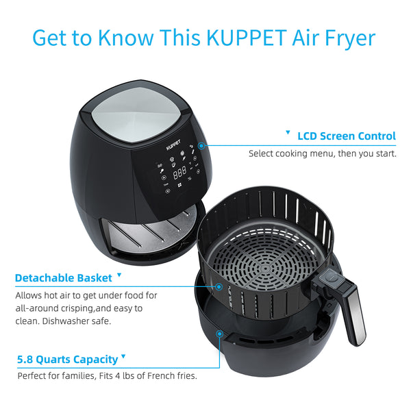 KUPPET Air Fryer, 5.8 Quart Air Fryer, 8 in 1 Electric Hot Air Fryers Oilless Cooker with Digital LCD Touch Screen, Easy Clean Basket, 180℉-400℉, 1700W, Black