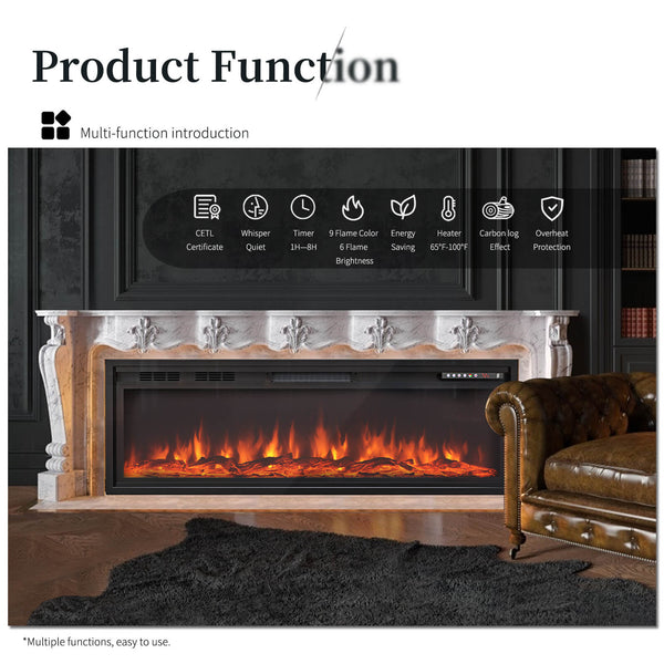 KUPPET 50 Inches Electric Fireplace Recessed 500W/1500W, Wall Mounted with Overheating Protection - Thermostat - 8H Timer - Remote Control - Touch Screen - CETL Certificate