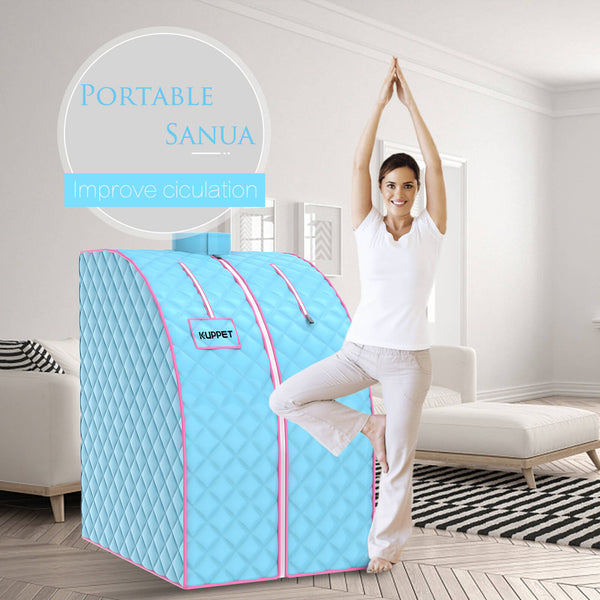 Portable Sauna, KUPPET Portable Folding Steam Sauna-2L One Person Home Sauna Spa for Full Body Slimming Loss Weight w/Chair, Remote Control, Steam Pot, Foot Rest, Mat Light Blue