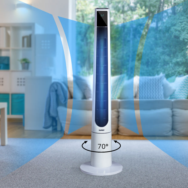 KUPPET 48 inch Bladeless Tower Fan Oscillating with Remote Control and LED Display Eco Function 3 Wind Modes 3 Speed 12H Timer