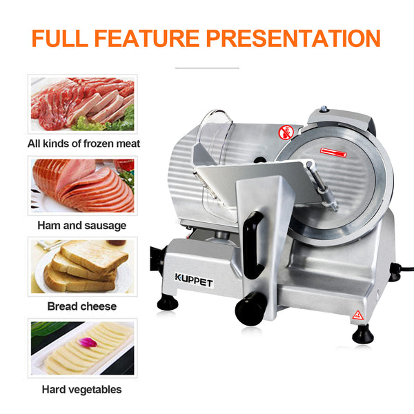 Kuppet Electric Meat Slicer  Deli Food Slicer ,Removable 8'' Stainless Steel Blade and Food Carriage, Adjustable Thickness Food Commercial Slicer