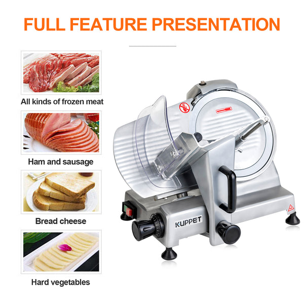Kuppet 10inch Stainless Steel Electric Meat Slicer Premium Chromium-plated Carbon Steel Blade