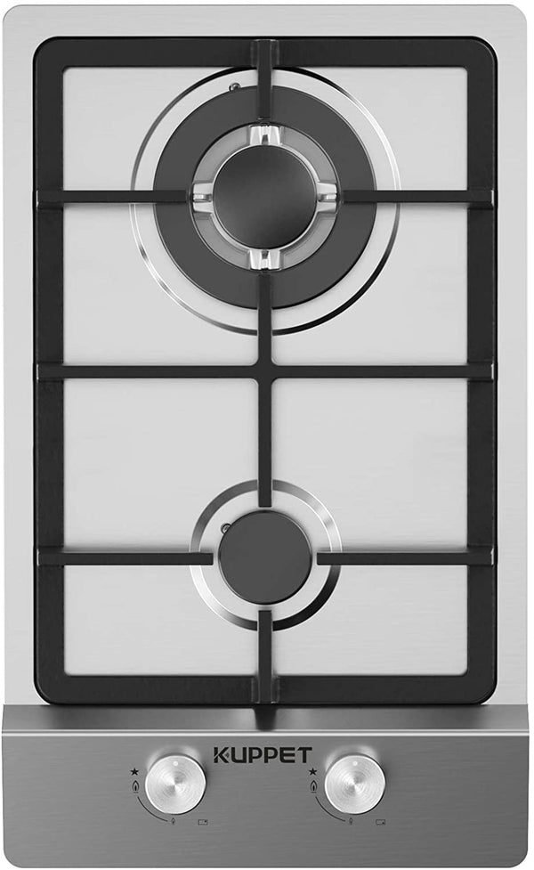 12 Inch Gas Cooktop, KUPPET QM2011 Gas Stove Cooktop with 2 Italy Sabaf Sealed Burners, Stainless Steel Cooktop Gas Hob
