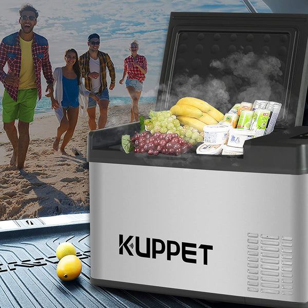 KUPPET Portable Refrigerator/Freezer 16Qt, Vehicle Refrigerator, Dual Temperature Electric Cooler for Truck Party, Travel, Picnic Outdoor, Camping