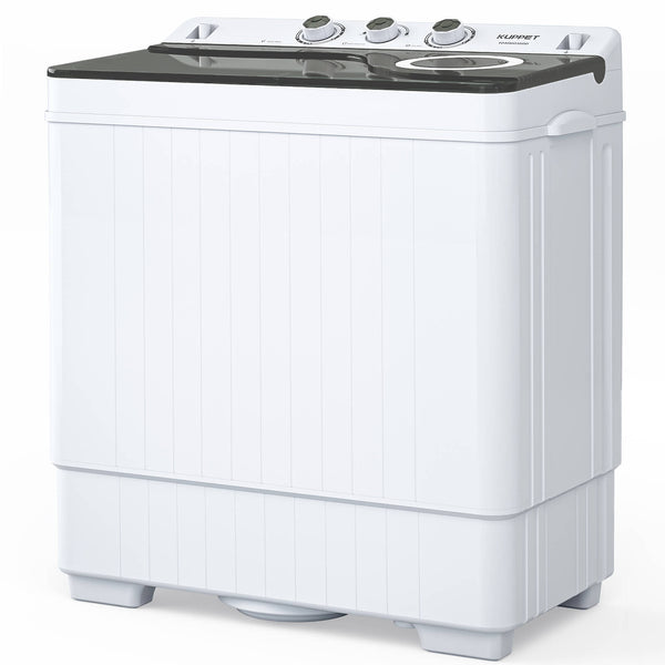 Portable Mini Washing Machine KUPPET Compact Twin Tub 26lbs Capacity, Washer(18lbs)&Spiner(8lbs)/Built-in Drain Pump/Semi-Automatic (White&Gray)