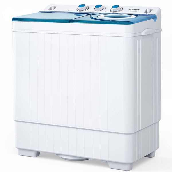 Compact Twin Tub Portable Mini Washing Machine 26lbs Capacity, KUPPET Washer(18lbs)&Spiner(8lbs)/Built-in Drain Pump/Semi-Automatic (White&Blue)