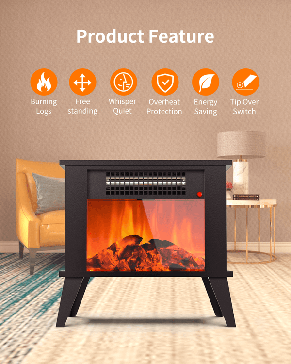 KUPPET Mini Desktop Electric Fireplace Portable Space Heater Fireplace Freestanding with Flame Effect and Overheating/Tip-Over Protection, 1000W(3400BTU) & Office Use & Home Use with Detachable Legs