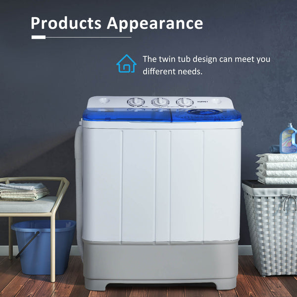 KUPPET Washing Machine, 21Ibs Portable Mini Compact Twin Tub Washer Spin Dryer