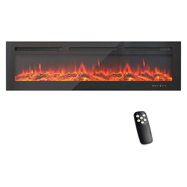 KUPPET 60 Inch Electric Fireplace WiFi Control Recessed and Wall Mounted with Overheating Protection,Thermostat,Timer & Remote, Log & Crystal,Touch Screen Compatible with Alexa