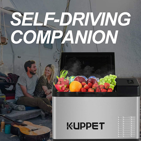 KUPPET Portable Refrigerator/Freezer 24Qt,  -12/24V DC and 100-240V AC, -4°F ~ 68°F