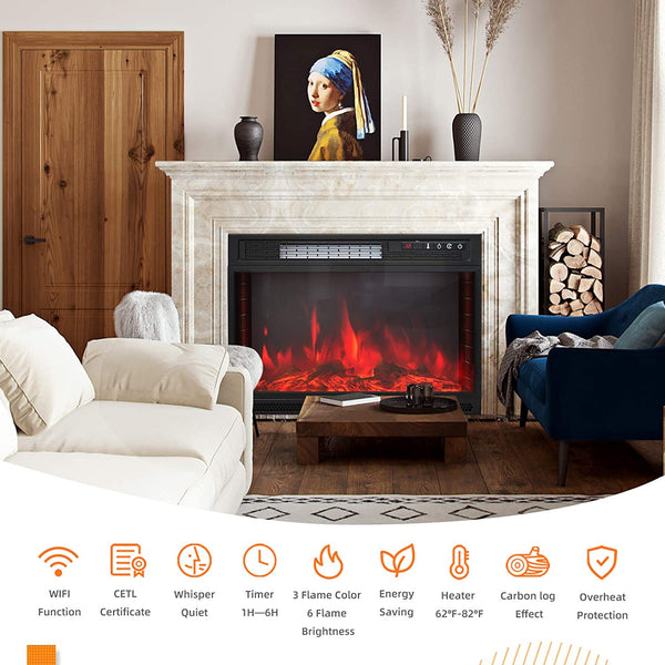 KUPPET 25.3 Inch Electric Fireplace Insert WiFi Control, Retro Recessed Fireplace Heater Electric Stove Heater with Remote Control Compatible with Alexa