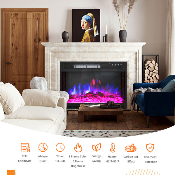KUPPET 28.8 Inches Electric Fireplace Insert WiFi Control, Freestanding & Recessed Electric Stove Heater with Remote Control Compatible with Alexa