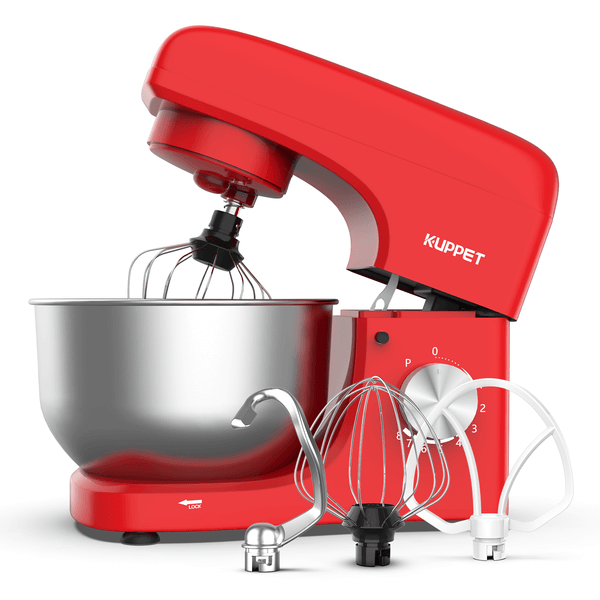 Stand Mixer, 8-Speed KUPPET Tilt-Head Electiric Food Stand Mixer with Dough Hook, Wire Whip & Beater, Pouring Shield, 4.7QT Stainless Steel Bowl, Red
