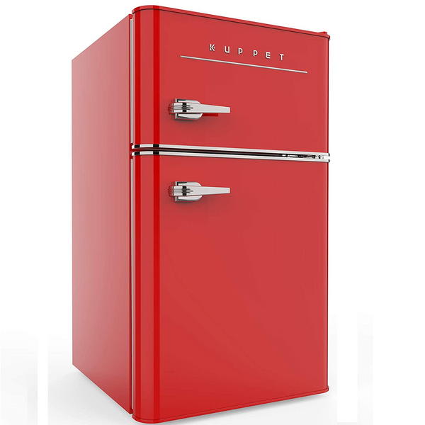 KUPPET Retro Mini Refrigerator 2-Door Compact Refrigerator for Dorm, Garage, Camper, Basement or Office, 3.2 Cu.Ft (Red)