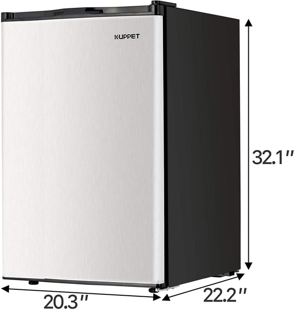 KUPPET Mini Refrigerator Compact Refrigerator-Small Drink Food Storage Machine for Dorm, Garage, Camper, Basement or Office, Single Door Mini Fridge, 4.5 Cu.Ft,stainless steel
