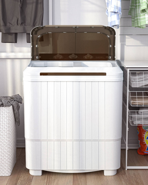 Portable Washing Machine, KUPPET 16.5lbs Compact Twin Tub Wash&Spin Combo for Apartment, Dorms, RVs, Camping and More, White&Brown