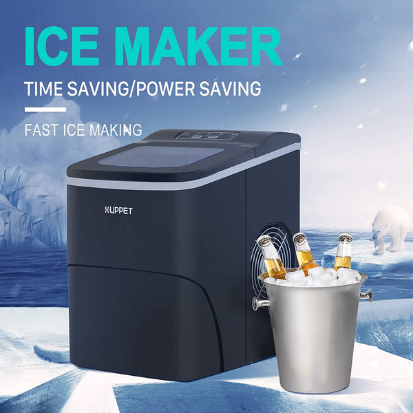 KUPPET Portable Ice Maker, Countertop Ice Machine with LCD Display, Ready in 6min, for Parties/Home/Office/Bar, Ice Scoop and Basket (Black)