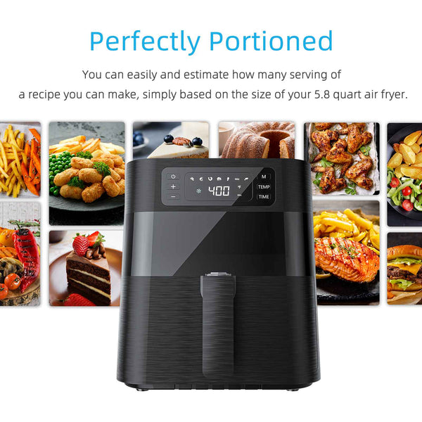 Air Fryer 5.8 QT, KUPPET 1700W Stainless Steel Electric Hot Air Fryers Oven, Oilless Cooker for Roasting/Baking/Grilling, 7 Cooking Presets, Nonstick Basket