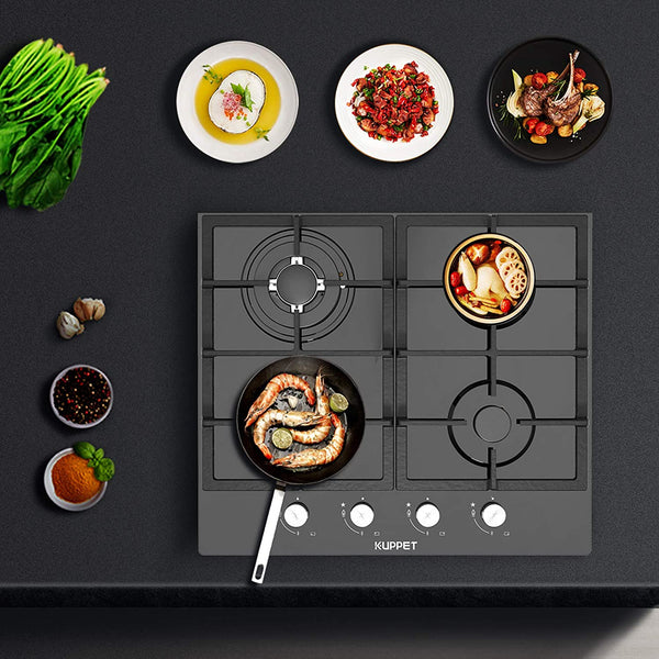 KUPPET 24 inch Built-in Gas Cooktop QB4074 Gas Stove with 4 Booster Burners Smooth Surface Black Tempered Glass