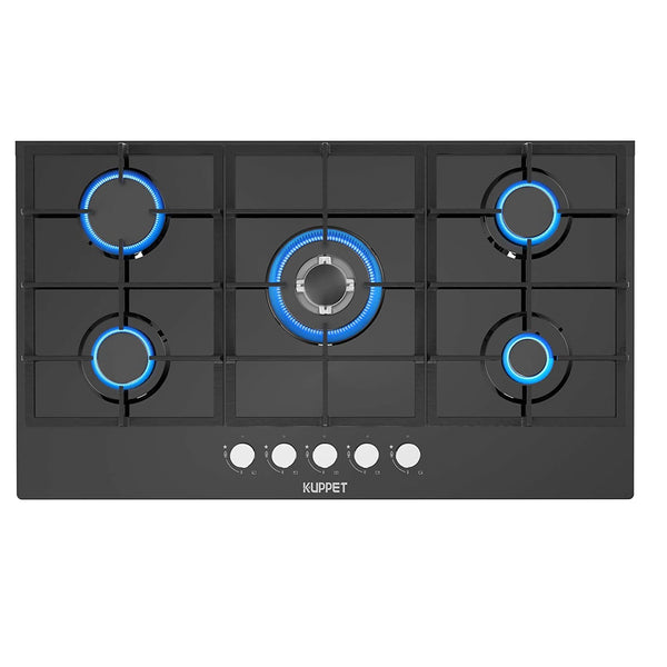 36 inch Built-in Gas Cooktop KUPPET QB5903 Gas Stove with 5 Booster Burners Smooth Surface Black Tempered Glass