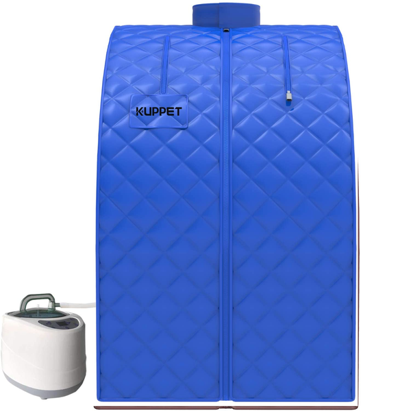 Portable Sauna, KUPPET 2020's Newest Portable Folding Steam Sauna-2L One Person Home Sauna Spa for Full Body Slimming Loss Weight w/Chair, Remote Control, Steam Pot, Foot Rest, Mat (Blue)