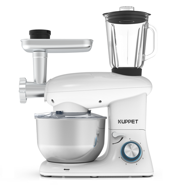 KUPPET 3 in 1 Stand Mixer, 6 Speed Electric Mixer, Tilt Head Kitchen Mixer with Meat Grinder and Juice Blender, 6 Quarts 850W Food Mixer - White