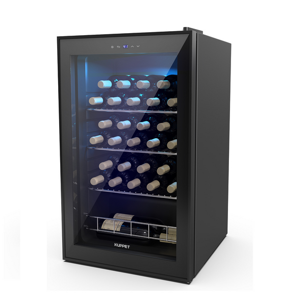 KUPPET 27 Bottles Compressor Freestanding Wine Cooler-Wine, Beer and ChampagneCellar-Digital Temperature Display-Double-layer Glass Door-Quiet Operation