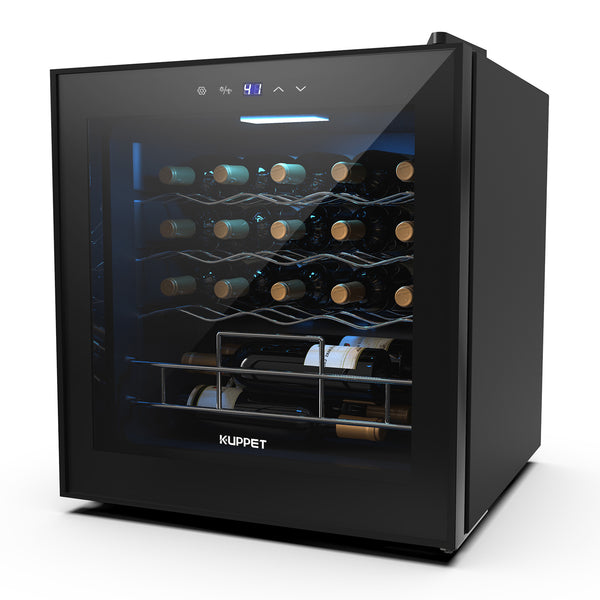 KUPPET 19 Bottles Wine Cooler, KUPPET Compressor Freestanding Chiller-Counter Top Red/White Wine, Beer and Champagne Wine Cellar-Digital Temperature Display-Double-layer Glass Door-Quiet Operation