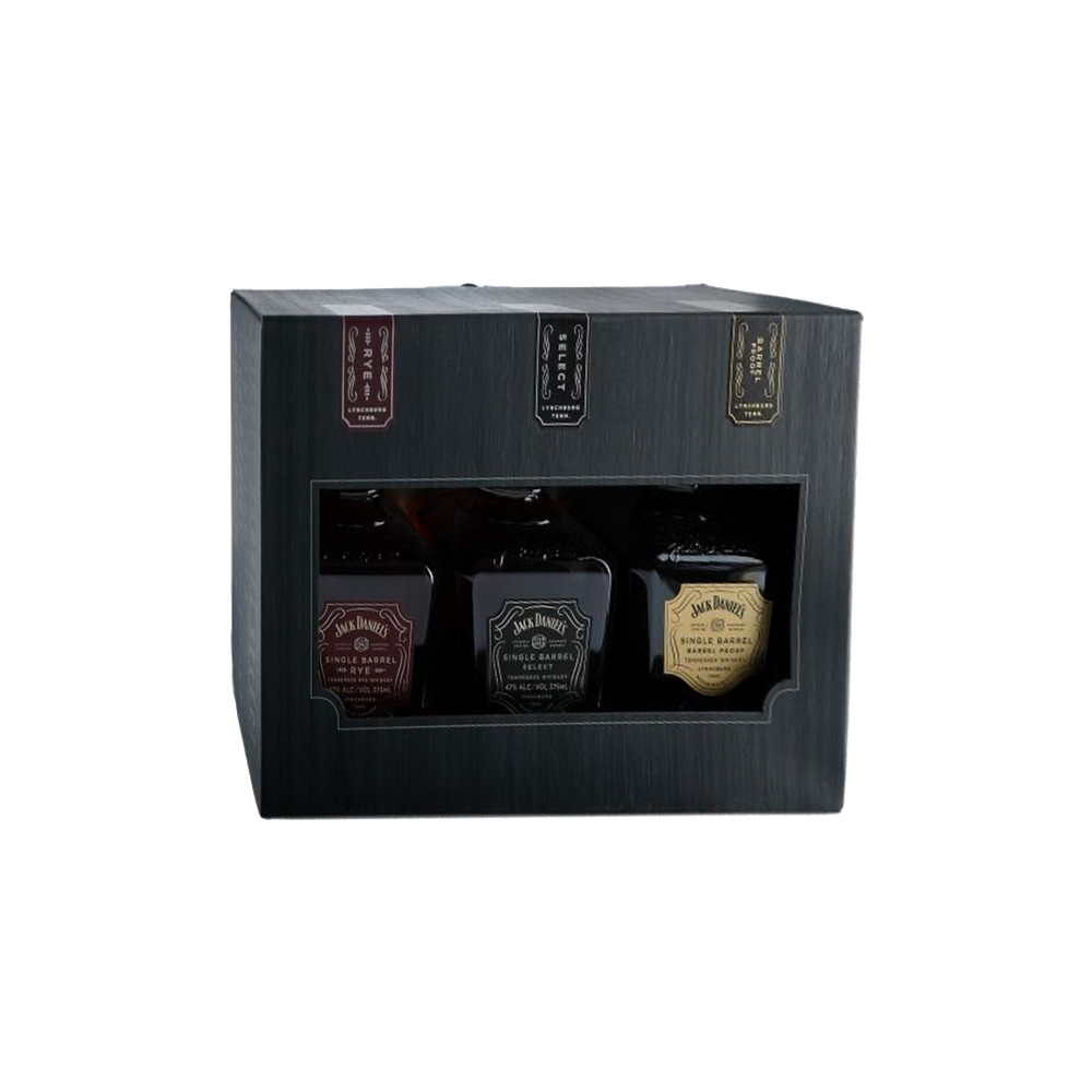 Load image into Gallery viewer, JACK DANIEL'S SINGLE BARREL WHISKEY SAMPLE PACK (RYE, BARREL SELECT, BARREL PROOF ) 3X375ML