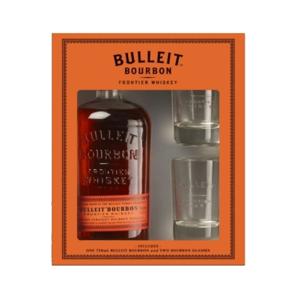 BULLEIT BOURBON GIFT PACK With 2 ROCK GLASSES (5404962947226)