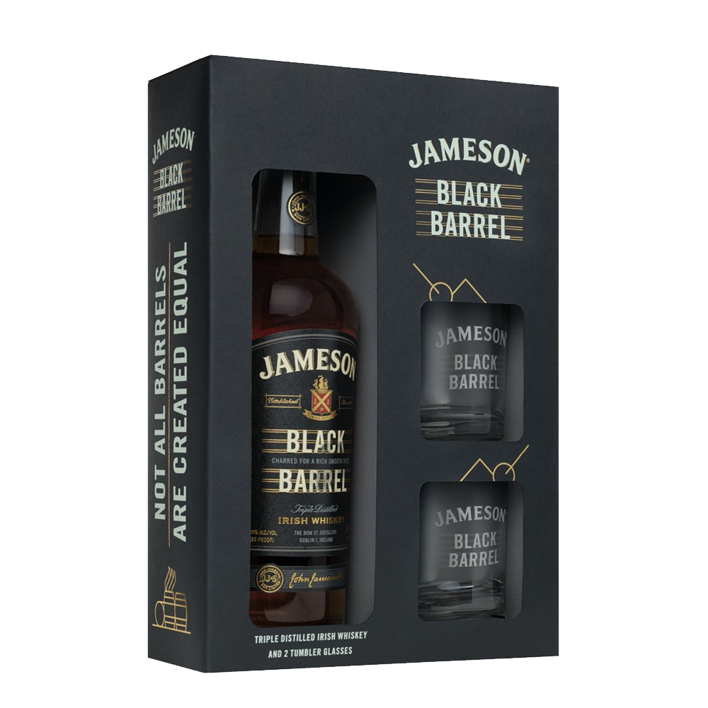 JAMESON BLACK BARREL GIFT PACK WITH GLASSES (5405120725146)