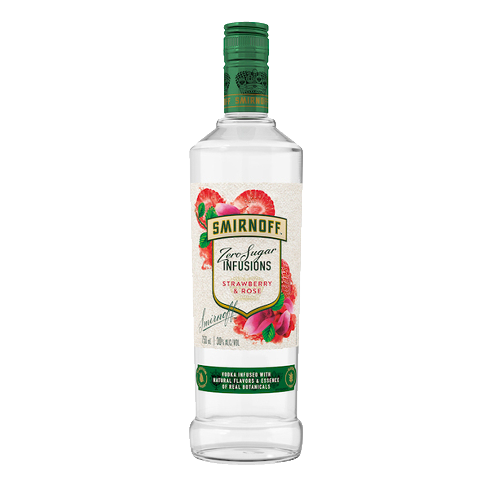 SMIRNOFF STRAWBERRY & ROSE ZERO SUGAR VODKA